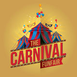 The carnival funfair and magic show. Vector illustration Stock Photography