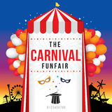 The carnival funfair and magic show. Vector illustration Royalty Free Stock Photography