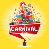 Carnival funfair. Vector illustration of the carnival funfair design Stock Photos