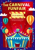 Carnival funfair vector cartoon illustration of circus invitation poster, banner or flyer template. Carnival funfair vector illustration of invitation poster stock illustration