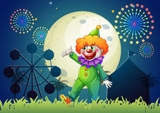 A carnival with a funny clown. Illustration of a carnival with a funny clown Stock Photos