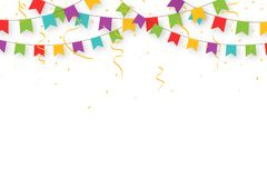 Carnival garland with flags, confetti and ribbons. Decorative colorful party pennants for birthday celebration. Festival and fair decoration. Holiday Stock Photos