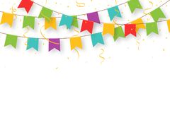 Carnival garland with flags, confetti and ribbons. Decorative colorful party pennants for birthday celebration vector illustration