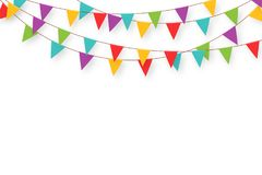 Carnival garland with flags. Decorative colorful party pennants for birthday celebration, festival and fair decoration. Holiday background with hanging flags stock illustration