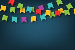 Carnival garland with pennants. Decorative colorful party flags for birthday celebration, festival and fair decoration royalty free illustration