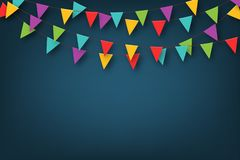 Carnival garland with pennants. Decorative colorful party flags for birthday celebration, festival and fair decoration vector illustration