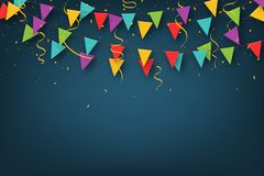 Carnival garland with pennants. Decorative colorful party flags with confetti for birthday celebration, festival royalty free illustration