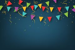 Carnival garland with pennants. Decorative colorful party flags with confetti for birthday celebration, festival vector illustration