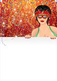Carnival Girl. Beautiful Carnival Girl with Blank Poster, festive background for your text Stock Photo