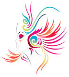 Carnival girl. Abstract face of a Carnival girl with colorful feathers. vector available Royalty Free Stock Photo