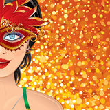 Carnival Girl Background. Festive Carnival Background with Beauty Girl with Mask. Colorful Vector Illustration with Copy space Royalty Free Stock Photography