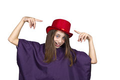 Carnival girl with funny face and red hat Stock Image