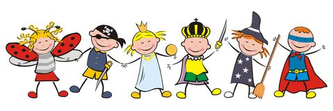Carnival, girls nad boys. Carnival, happy kids and masks. Vector illustration. Ladybug, pirate, princess, king, witch and superman. Funny illustration. Children royalty free illustration