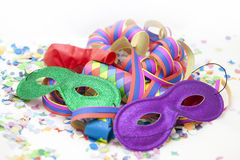 Carnival glasses. Colorful funny carnival background with stripes and mask Royalty Free Stock Images