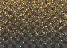 Golden shimmer random falling confetti. Carnival glitter design. Shine banner card sparkle. Decorative festive holiday backdrop. Random falling shimmer dust royalty free illustration