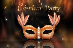 Golden Carnival Mask, Masquerade, Mardi Gras stock illustration