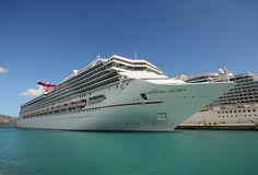 Carnival Glory cruise ship. St Thomas, US Virgin islands - March 26, 2014: Carnival Glory cruise ship arrives in ST Thomas, US Virgin Islands. The island is one Royalty Free Stock Image