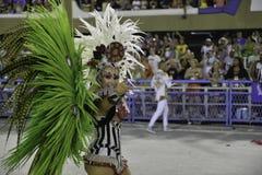 Carnival 2018 - Grande Rio. Rio, Brazil - february 12, 2018: Samba School parade in Sambodromo. Grande Rio during parade of the carioca carnival in the Marques stock photography