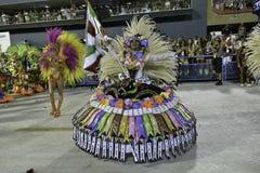 Carnival 2018 - Grande Rio. Rio, Brazil - february 12, 2018: Samba School parade in Sambodromo. Grande Rio during parade of the carioca carnival in the Marques royalty free stock image