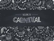 Carnival greeting card. Horisontal carnival vector composition on chalkboard. Hand drawn carnival objects. Masqeurade design elements collection in line art Royalty Free Stock Photos