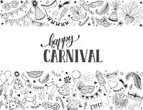 Carnival greeting card. Horisontal carnival vector composition isolated on white background. Hand drawn carnival objects in line art style. Doodle masquerade Stock Photography