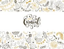Carnival greeting card. Horisontal carnival vector composition. Carnival objects in golden colors. Masqeurade elements collection in line art style. Doodle Royalty Free Stock Image