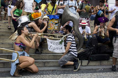 Carnival group protests against violence of Rio's Municipal Guard Royalty Free Stock Photography