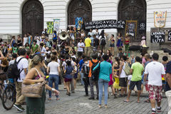 Carnival group protests against violence of Rio's Municipal Guard Stock Photo