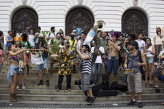 Carnival group protests against violence of Rio's Municipal Guard Royalty Free Stock Images