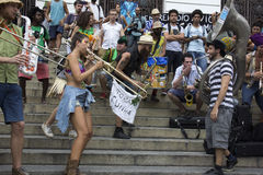 Carnival group protests against violence of Rio's Municipal Guard Royalty Free Stock Photos