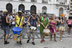 Carnival group protests against violence of Rio's Municipal Guard Stock Photography