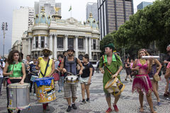 Carnival group protests against violence of Rio's Municipal Guard Stock Photos