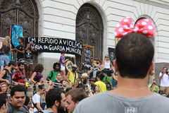 Carnival group protests against violence of Rio's Municipal Guard Royalty Free Stock Image