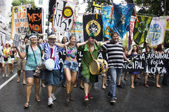 Carnival group protests against violence of Rio's Municipal Guard Stock Image