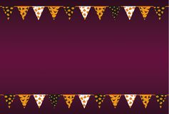 Carnival for Halloween with flags of Garland. Festive pattern. Vector. The concept of an invitation to a party or a birthday card. Empty space for text or Stock Photos
