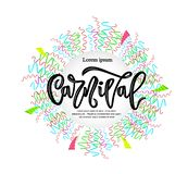 Carnival hand calligraphy lettering inscription with colorful ribbons. vector illustration. Template of label, icon, tag, banner, background, festival poster stock illustration