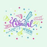 Carnival hand drawn lettering as logotype, badge, patch and icon. Isolated on white background. Hello Carnival text for postcard, card, invitation, flyer Stock Images
