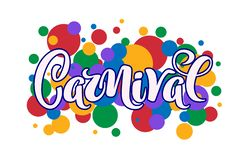 Carnival hand drawn lettering for Brasil carnaval, Mardi Gras, Spain carnival festival concept for celebration poster, banner,. Logo, icon, printing. Vector vector illustration