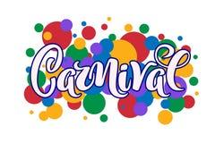 Carnival hand drawn lettering for Brasil carnaval, Mardi Gras, Spain carnival festival concept for celebration poster, banner, vector illustration