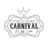 Carnival Hand Drawn Monochrome Mardi Gras Event Vintage Promotion Sign In Pencil Sketch Style With Calligraphic Text Stock Photography
