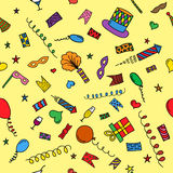 Carnival hand drawn seamless pattern Royalty Free Stock Photo