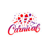 Carnival hand written lettering background. Colorful template with baloons, masks, fireworks for card, poster, print. Isolated on white background. Vector Royalty Free Stock Images