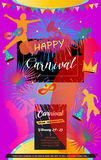 Carnival. Happy Carnival, Festival, Masquerade Music poster, invitation Holiday Kids party poster design. Vector illustration. Children Event funny flyer Stock Photography