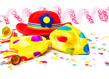 Carnival hat, bow tie, confetti Stock Photography