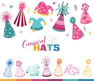 Carnival hats set. Colorful carnival hats collection isolated on white background. Masqeurade cone caps design for decorating festive  and birthday invitations Stock Photo
