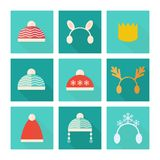 Carnival hats vector set in flat style. Carnival and knitted hats set of vector icons in flat style vector illustration