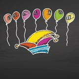 Carnival heat and balloons on chalkboard Royalty Free Stock Photos