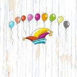 Carnival heat and balloons on wooden background vector illustration