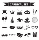 Carnival icon set, black silhouette style. Party, masquerade collection signs, symbols,  on white background. Vector illustration clip-art Royalty Free Stock Photos