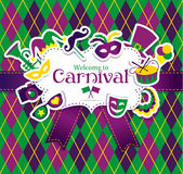 Carnival icons and seamless pattern Stock Photography